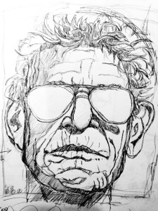 Pencil drawing of rock and roll singer Lou Reed.
